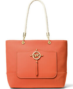 New MICHAEL KORS Amy Large Rope Tote Clementine orange gold bag cotton