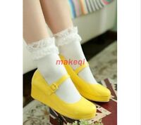 Women's Lolita Buckle Strap Mary Janes Wedge Heels Cute Party Shoes Plus Size