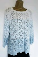 LADIES FAT FACE CROCHET COTTON JUMPER SZ 18 IN VGC! WHITE,TEAL,HIP LENGTH