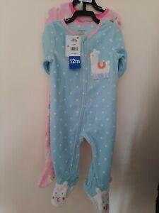Pack of 2 Absorba Children's Fleece Sleepsuit - Llama design
