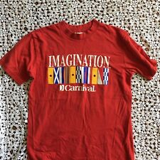 Carnival Cruise T-Shirt VTG 80s 90s Red Large Flags Ship Travel Imagination