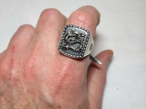 Bold Heavy EFFY Men's Hematite Sterling Silver Dragon Signet Ring Sz 10
