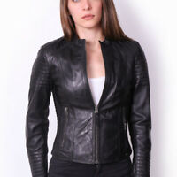 VAINAS Women Genuine Sheep Leather jacket Winter Motorcycle jacket Biker jacket