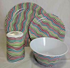 d69a4c3a1ff 16 Piece Brushed Stripes Melamine Dinner Set Dining Picnic Camping Caravan  red