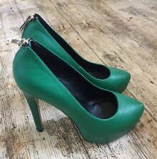 Stunning RIVER ISLAND Leather GREEN Platform Stiletto Heels Courts ~UK 5 ~ Zips