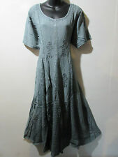 Dress Fits 1X 2X  Plus Long Gray Embroidery Flared Pleated Lace Hem NWT G227