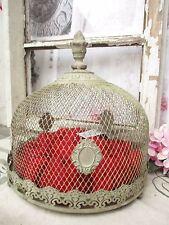 Glocke Haube Metall Platte Krone Shabby Landhaus Drahthaube Tablett rund Vintage