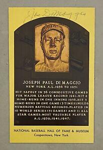 Joe DiMaggio 2x Signed Front & Back Yellow HOF Plaque Postcard JSA LOA Yankees