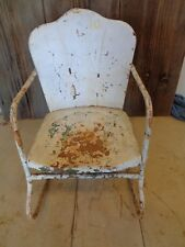 """Antique Primitive Metal Childs Rocking Chair 20 1/2 tall x 12"""" wide Great Patina"""
