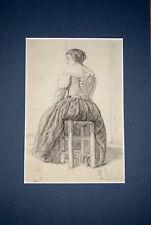 Dessin Ancien XIXEME Jeune Fille Assise De Dos 1853 COIGNIET OLD MASTER DRAWING
