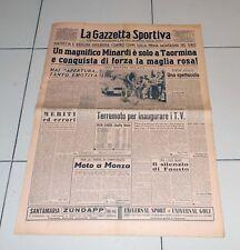 La Gazzetta Sportiva 23 maggio 1954 GIRO D'ITALIA Minardi maglia rosa Taormina