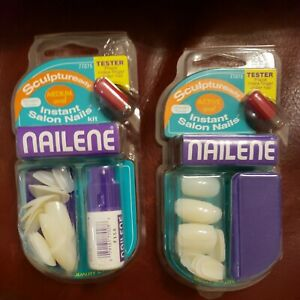 2 pks Nailene Classic Instant Active & Med Oval Nails Unpainted 20ct & buffer