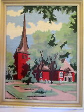 Completed Cotton Needlepoint Scene Church in Distressed Frame Colorful Vintage