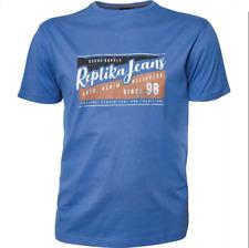 Replika Jeans Printed T-Shirt/Zephyr Blue - 5XL New!