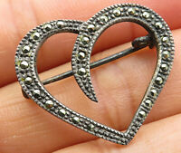 925 Sterling Silver - Vintage Marcasite Open Love Heart Brooch Pin - BP2190