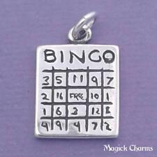 BINGO Game Card Charm .925 Sterling Silver Pendant - d40426