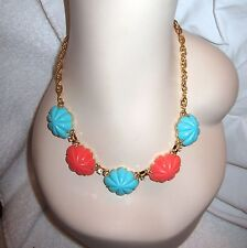 Yosca Turquoise & Coral Cabochon Necklace Gold Plated Signed --Mint! $225