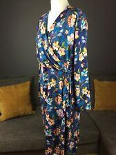 Womens Joe Browns Uk 18 Blue Floral Faux Wrap Midi Stretchy Jersey Dress Vgc D6