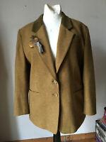 Tweed Blazer Jacke Madeleine beige braun meliert Schurwolle Dandy Stil 44 46