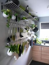Kitchen Chef Rack Storage Wall Mount Rail Utensil Hanging Pans Pots Lid Holder