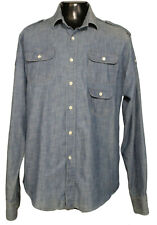 GANT by Michael Bastian Mens Chambray Military Shirt with Sleeve Pockets ~ (XL)