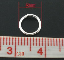 50pcs 8mm x 1.5mm Silver plated thick strong open jump rings jewellery findings
