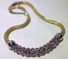 VINTAGE NECKLACE GOLD TONE MESH CHAIN PINK RHINESTONS MAGNETIC CLASP