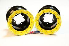 "DWT G2 ATV Yellow Rear Beadlock Rims 9"" 9x8 3+5 4/115 Yamaha Banshee Raptor 250"