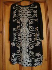 M&S COLLECTION  BLACK / PRINT TUNIC DRESS SHAPED HEM.  3/4 SLEEVES . SIZE 10