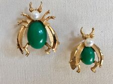 Vintage Set of 2 Signed BSK Gold-Toned Moth with Jelly Belly Green Stone