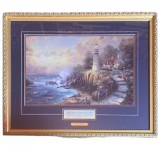 Thomas Kinkade framed Accent print picture Light of Peace Coa 26X22 lighthouse