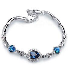 Fashion Lady Ocean Heart Blue Crystal Rhinestone Charm Bangle Bracelet Gift