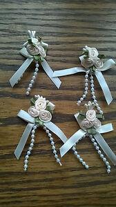 4 Cream Triple Rose Ribbon Bows with Pearl Bead Trim