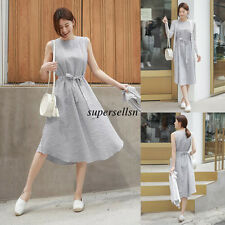 Korean Women Summer Striped Sleeveless Loose Slim Casual Tunic A Line Long Dress