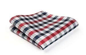 Men's Silk Pocket Square Blue & Red Checkered Plaid Wedding Handkerchief