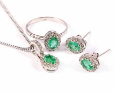 Natural Emerald Ring Earrings Pendant Jewelry Set Statement 925 Sterling Silver