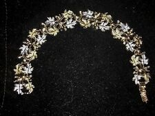 Vintage 1960 Sara Coventry Frosted Leaf Garland Silver Tone / Gold Tone Bracelet