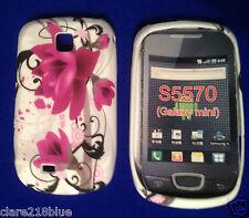 Samsung Galaxy Mini S65570 Blanco Fucsia con Flor Rosa Funda de Gel Calcetín