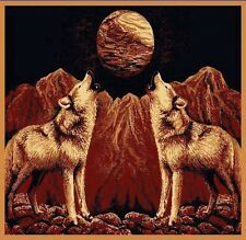 5 X 8 TWO HOWLING WOLVES AT THE MOON WOLVES COUNTRY ANIMAL THEME AREA RUG