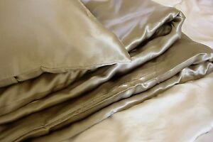 3 pcs 100% silk charmeuse satin duvet cover set Queen