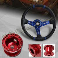For 90-03 Mazda Protege 350MM Blue/Carbon PVC Steering Wheel+Red Aluminum Hub