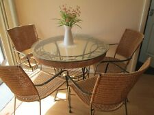 INDOOR DINING TABLE with  ROUND GLASS TOP &  4 RATTAN CHAIRS     COLLECTION ONLY