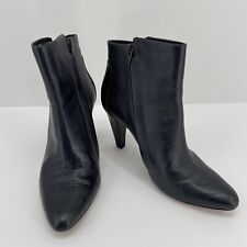 10 Crosby Derek Lam Black Leather Stacked Heel Size Zip Ankle Boots Size 8