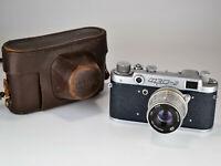 "DARK BLUE BODY RUSSIAN USSR ""FED 2"" camera + Industar-26m lens, f2.8/50mm (1)"