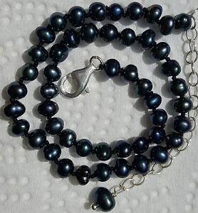 "Black & Blue Freshwater Seed Pearl & Sterling Silver Ankle Bracelet 10""-12"""
