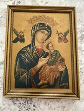 """Vintage """"Mother of Perpetual Help"""" Picture Framed 12"""" x 9-1/2"""""""