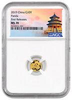 2019 China 1 g Gold Panda ¥10 Coin NGC MS70 FR Temple Label SKU56054