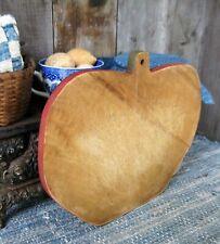 Antique Wood Bread Cutting Board Apple Shape Red Milk Paint