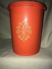 """Vintage Tupperware Orange Plastic Small Canister 811-3 with Lid 812-61   6"""" tall"""