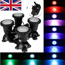 4PCS 36LED Underwater Spot Light for Aquarium Fish Tank Garden Pond Pool UK Plug